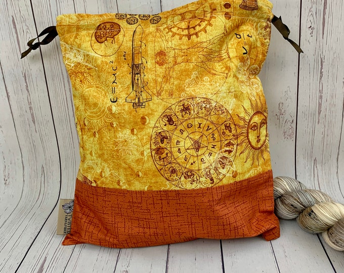 Vitruvian Man / Zodiac,  Knitting Project Bag, Crochet Project Bag, Yarn Bag, Fiber Project Bag, Sock knitting bag, Shawl projec