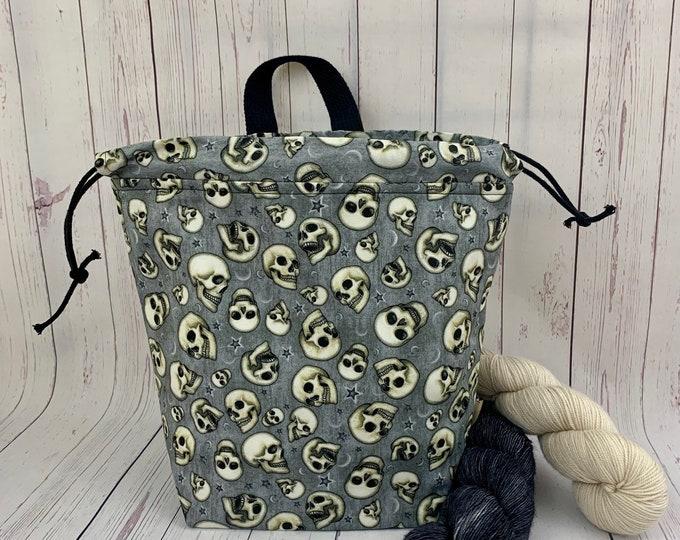 Night Skulls ,Twisted Bucket bag, Knitting project bag, Crochet project bag,  Project Bag, Yarn bowl, Large Project bag