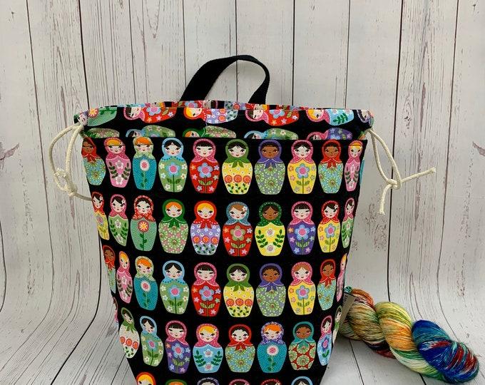 Matryoshka Dolls, Twisted Bucket bag, Knitting project bag, Crochet project bag,  Project Bag, Yarn bowl, Large Project bag