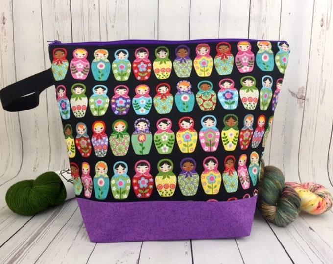Matryoshka Doll, Shweater Bag w/ Zipper, XL Knitting project bag, Crochet project bag,  Zipper Project Bag, Yarn tote, Sweater project bag