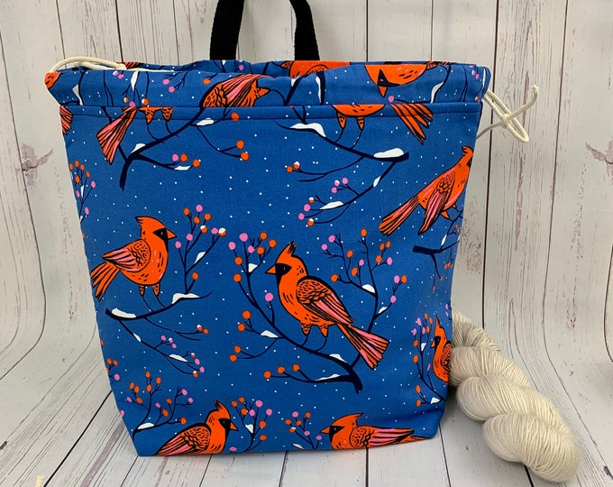 Winter Cardinal , Shweater bag, XL Project bag, Knitting bag, Crochet project bag,  Project Bag, Sweater knitting bag, Shawl Knittin