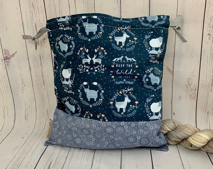 WIld at Heart, Knitting Project Bag, Crochet Project Bag, Yarn Bag, Fiber Project Bag, Sock knitting bag, Shawl projec