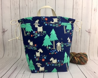 Goats, Bucket bag, Knitting project bag, Crochet project bag,  Project Bag, Yarn bowl, Large Project bag
