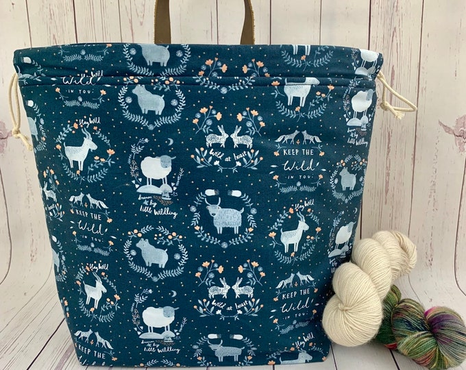 Wild at Heart, sheep, Shweater bag, XL Project bag, Knitting bag, Crochet project bag,  Project Bag, Sweater knitting bag, Shawl Knitting ba