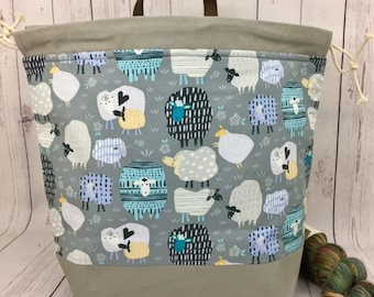 Gray Sheep, Shweater bag, XL  Project bag, Knitting bag, Crochet project bag,  Project Bag, Sweater knitting bag, Shawl Knitting bag