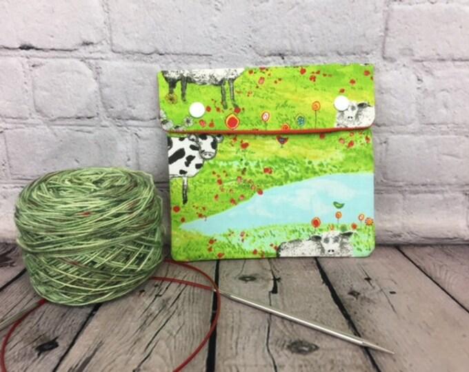 Sheep and Cows  Circular Knitting Needles Case or Knitting Notions Case, Crochet notions case, Accessories case, Circular Case