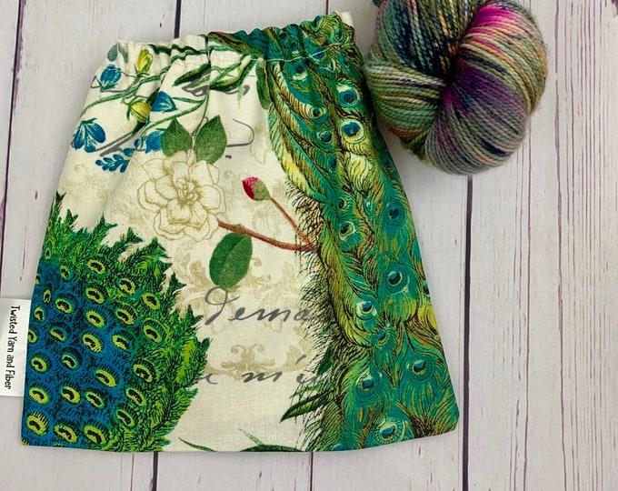 Peacock Feathers ,Yarn Ball bag, Yarn Bowl, Yarn Holder, Yarn cake Bag, Holds Yarn Mini-Most Bulky