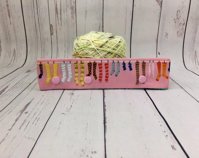 "Socks -Pink, Circular Needle Progress Holder,  6-8"" DPN Progress Holder for Knitting, Needle cozy"