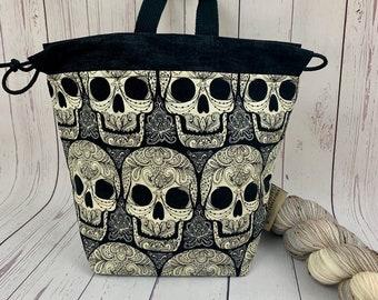 Skulls, Shocks (Socks to Shawl Bag), Knitting project bag, Crochet project bag, Shawl knitting bag, Sock Knitting bag
