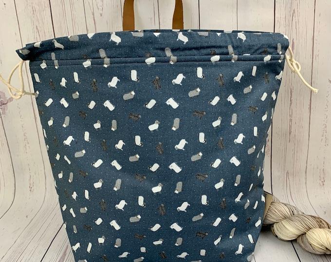 Sheep, Shweater bag, XL Project bag, Knitting bag, Crochet project bag,  Project Bag, Sweater knitting bag, Shawl Knitting ba