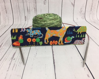 "Animals, Circular Needle Progress Holder,  6-8"" DPN Progress Holder for Knitting"