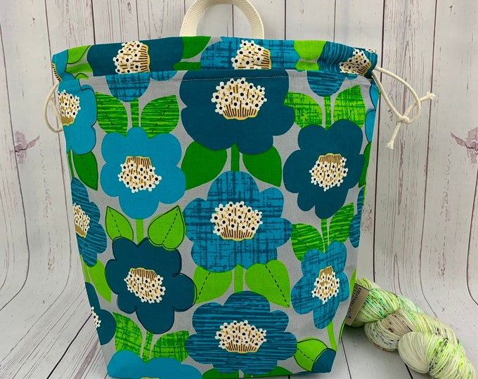Happy Flowers , Twisted Work Bag, Large Canvas project bag w/ full length pocket, Shawl /Sweater Knitting, Crochet Project, Needle