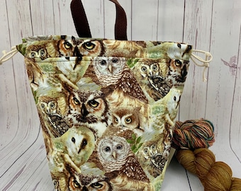 Woodland Owls, Twisted Bucket bag, Knitting project bag, Crochet project bag,  Project Bag, Yarn bowl, Large Project bag