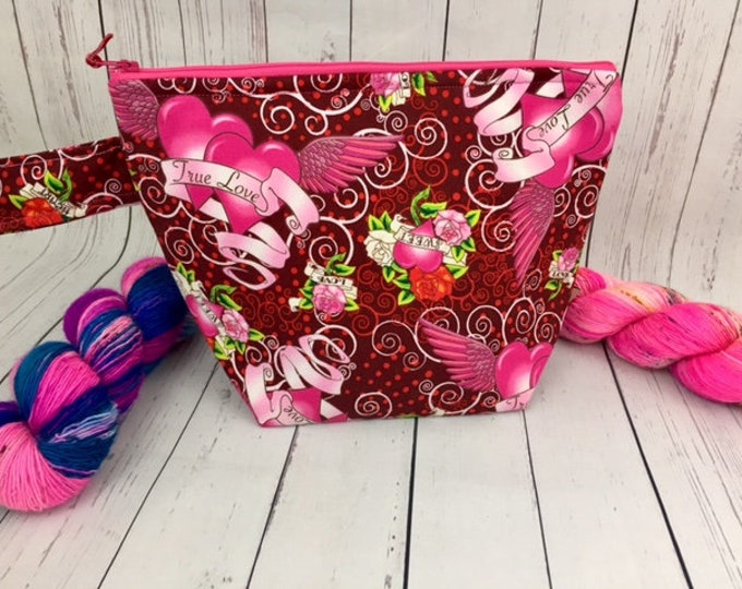 Tattoo True Love, Knitting project bag, Crochet project bag,  Zipper Project Bag, Yarn bowl, Sock Knitting bag