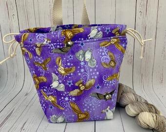 Messenger Owls / Owl Post, Shocks (Socks to Shawl Bag), Knitting project bag, Crochet project bag, Shawl knitting bag, Sock Knitting bag