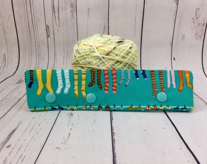 """Socks -Blue, Circular Needle Progress Holder,  6-8"""" DPN Progress Holder for Knitting, Needle cozy"""