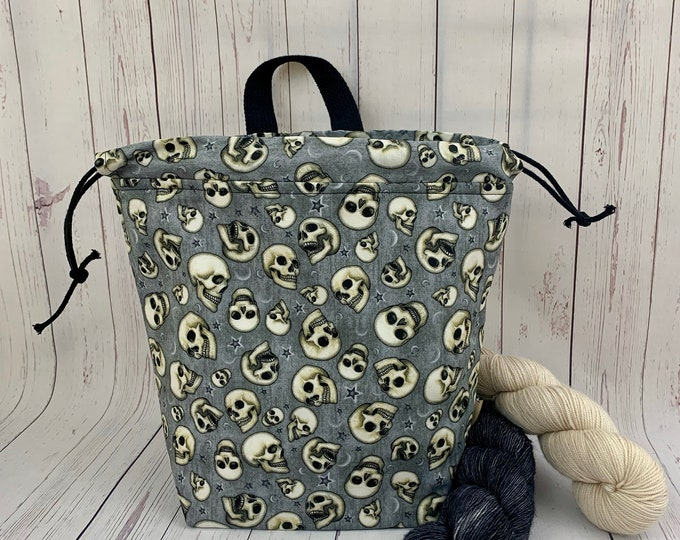 Night Skulls ,Shweater bag, XL Project bag, Knitting bag, Crochet project bag,  Project Bag, Sweater knitting bag, Shawl Knitting ba