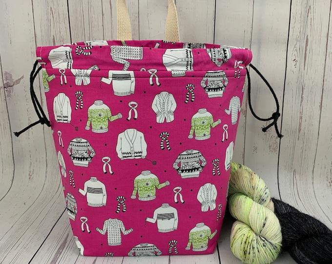 Pink Fair Isle Sweaters,  Twisted Bucket bag, Knitting project bag, Crochet project bag,  Project Bag, Yarn bowl, Large Project bag