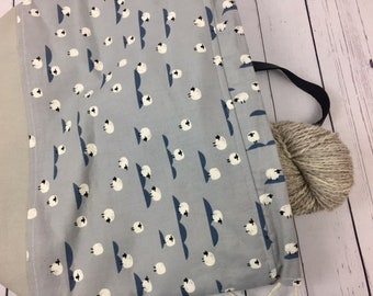 Gray/ Steel Blue Sheep Shweater bag, XL  Project bag, Knitting bag, Crochet project bag,  Project Bag, Yarn bowl