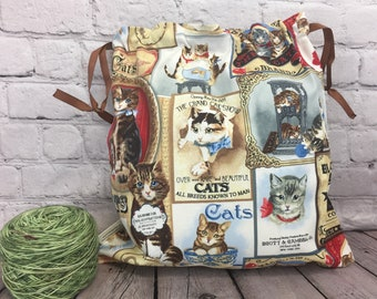 Vintage Cats Knitting Project Bag, Crochet Project Bag, Yarn Bag, Fiber Project Bag, Sock knitting bag, Shawl project bag