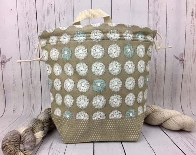 Sheep , Knitting project bag, Crochet project bag,  Project Bag, Yarn bowl, Large Project bag, Shawl knitting