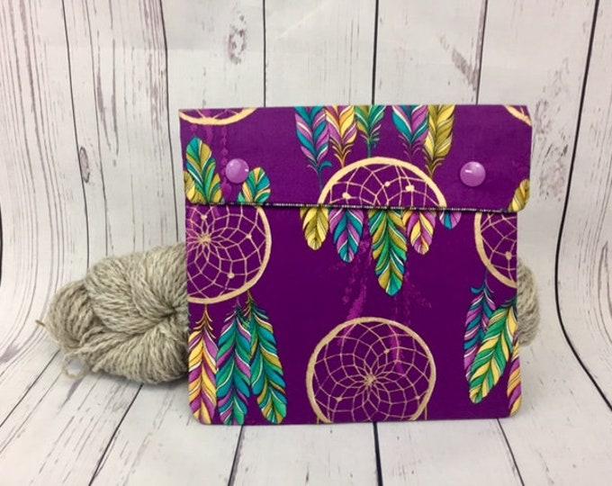 Dreamcatcher purple,  Circular Knitting Needles Case or Knitting Notions Case, Crochet notions case, Accessories case, Circular Case