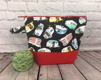 Vintage Camper RV w/ Full length pocket, Knitting project bag, Crochet project bag,  Zipper Project Bag, Yarn bowl