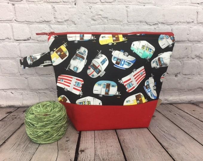 Vintage Camper RV w/ Full length pocket, Knitting project bag, Crochet project bag,  Zipper Project Bag, Yarn bowl