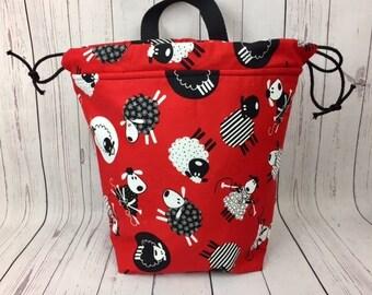 Knitting Sheep Bucket bag, Knitting project bag, Crochet project bag,  Project Bag, Yarn bowl