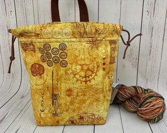 Vitruvian Man And Science, Shocks (Socks to Shawl Bag), Knitting project bag, Crochet project bag, Shawl knitting bag, Sock Knitting bag