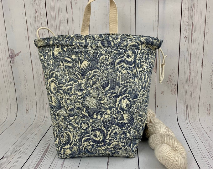 Blue Victorian Floral Toile, Twisted Bucket bag, Knitting project bag, Crochet project bag,  Project Bag, Yarn bowl, Large Project bag