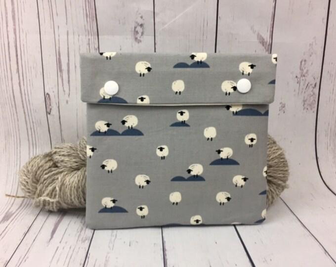 Gray/ Steel Blue Sheep Circular Knitting Needles Case or Knitting Notions Case, Crochet notions case, Accessories case, Circular Case