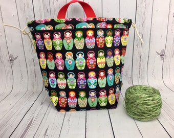 Matryoshka Dolls Bucket bag, Knitting project bag, Crochet project bag,  Zipper Project Bag, Yarn bowl