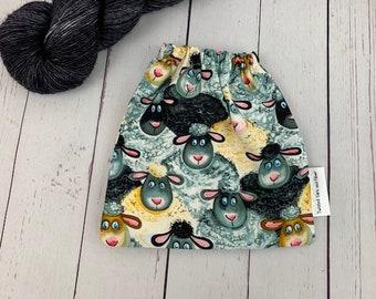 Sheep, Yarn Ball bag, Yarn Bowl, Yarn Holder, Yarn cake Bag, Holds Yarn Mini-Most Bulky