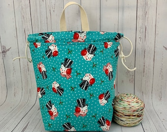 Vintage Snowman, Twisted Bucket bag, Knitting project bag, Crochet project bag,  Project Bag, Yarn bowl, Large Project bag