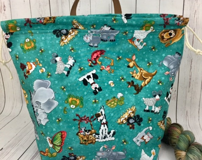 Animals and Friends,Shweater bag, XL  Project bag, Knitting bag, Crochet project bag,  Project Bag, Sweater knitting bag, Shawl Knitting bag