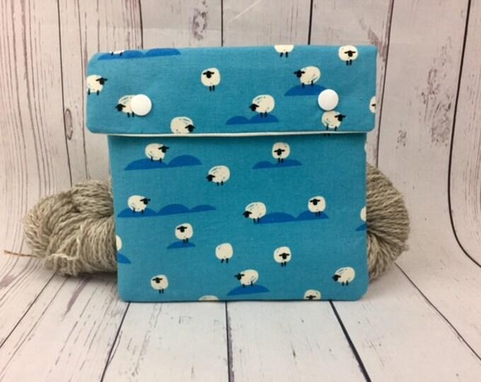 Blue Sheep Circular Knitting Needles Case or Knitting Notions Case, Crochet notions case, Accessories case, Circular Case