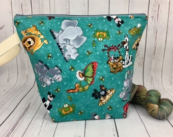 Animals and Friends-Zipper Top, Bucket bag, Knitting project bag, Crochet project bag,  Project Bag, Yarn bowl, Large Project bag
