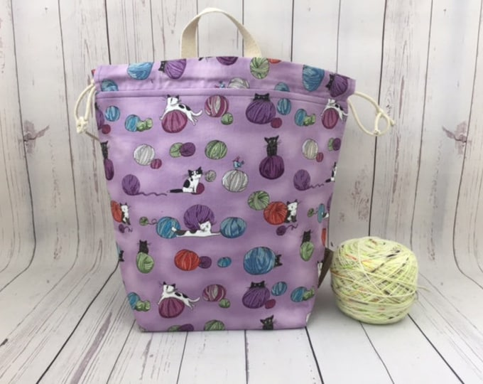 Cats and Yarn -Purple, Twisted Bucket bag, Knitting project bag, Crochet project bag,  Project Bag, Yarn bowl, Large Project bag