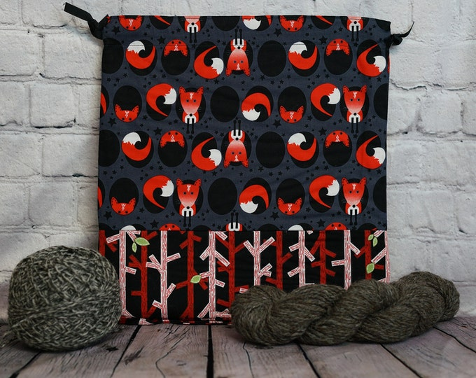 Red Fox Knitting Project Bag, Crochet Project Bag, Yarn Bag, Fiber Project Bag, Sock knitting bag, Shawl project bag
