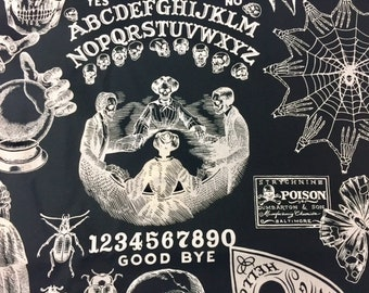 Ouija Board/ Witches in Black  Bucket bag, Knitting project bag, Crochet project bag, --Pre Order: Ship 9/24- Choice - Bucket or Zipper Bag