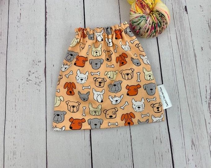 Dogs - Orange, Yarn Ball bag, Yarn Bowl, Yarn Holder, Yarn cake Bag, Holds Yarn Mini-Most Bulky