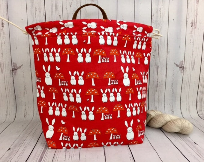 Bunnies and Mushrooms- Red, Shweater bag,XL Project bag,Knitting bag,Crochet project bag, Project Bag,Sweater knitting bag,Shawl Knitting