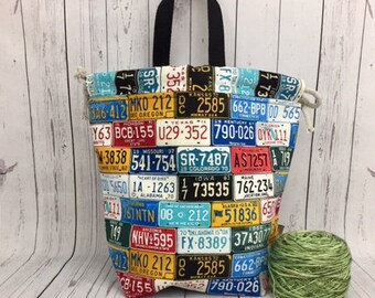 License Plates Bucket Bag, Knitting project bag, Crochet project bag,  Zipper Project Bag, Yarn bowl