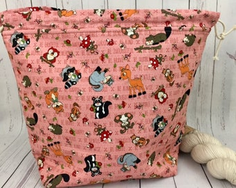 Woodland Animals, Shweater bag, XL  Project bag, Knitting bag, Crochet project bag,  Project Bag, Sweater knitting bag, Shawl Knitting bag