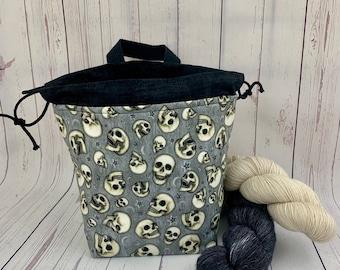 Night Skulls, Shocks (Socks to Shawl Bag), Knitting project bag, Crochet project bag, Shawl knitting bag, Sock Knitting bag