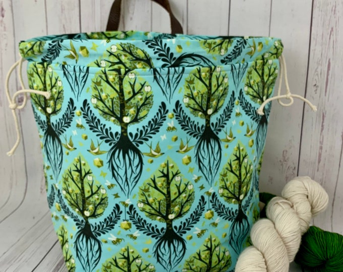 Spring Roots, XL  Project bag, Knitting bag, Crochet project bag,  Project Bag, Yarn bowl, Sweater bag