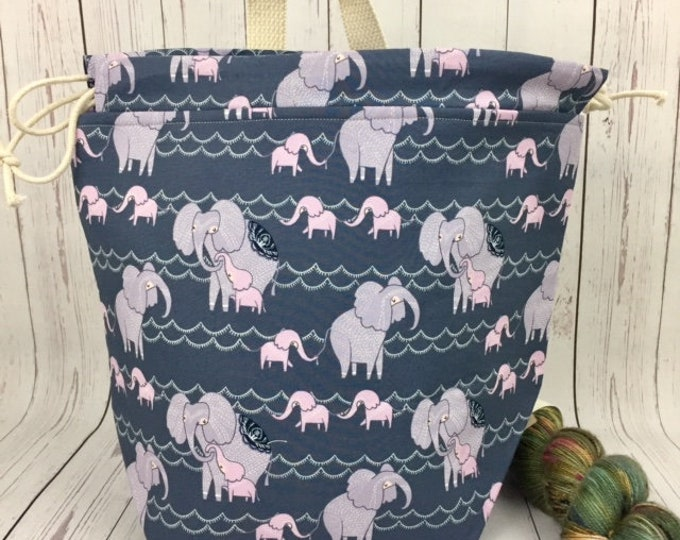 Elephants, Bucket bag, Knitting project bag, Crochet project bag,  Project Bag, Yarn bowl, Large Project bag