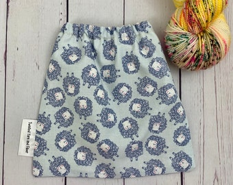 Blue Sheep ,Yarn Ball bag, Yarn Bowl, Yarn Holder, Yarn cake Bag, Holds Yarn Mini-Most Bulky
