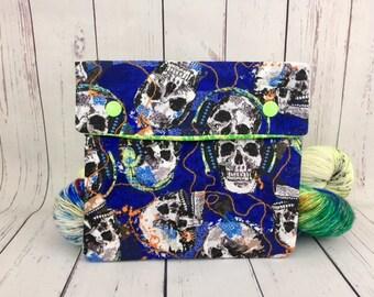 Skull Rock,  Circular Knitting Needles Case or Knitting Notions Case, Crochet notions case, Accessories case, Circular Case